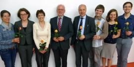 Der Vorstand des EB Württemberg nach seiner Wahl am 24. Juni 2015: v.l.: Susanne Schenk, Christina Krause, Susanne Dengel, Dekan Winfried Speck Vorsitzender), Christoph Doll, Jonathan Reinert (Geschf.), Hanne Lamparter, Jakob Fuchs